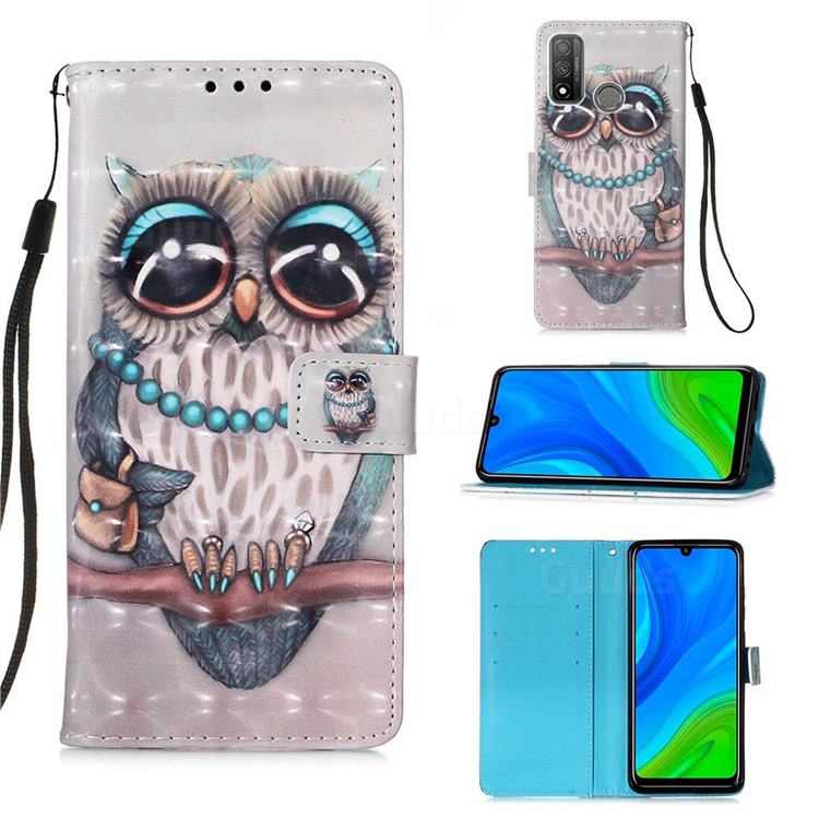 Sweet Gray Owl 3D Painted Leather Wallet Case for Huawei P Smart (2020)