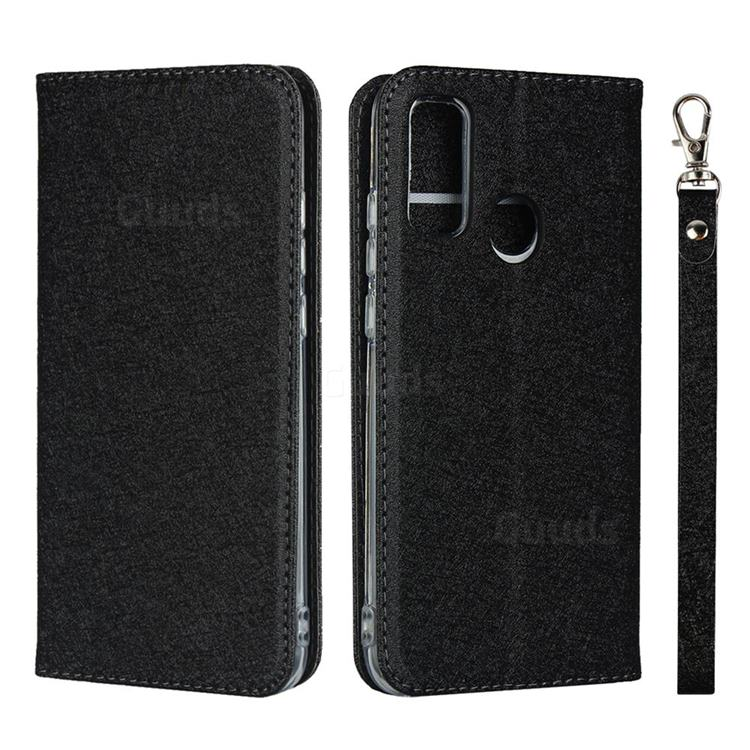Ultra Slim Magnetic Automatic Suction Silk Lanyard Leather Flip Cover for Huawei P Smart (2020) - Black