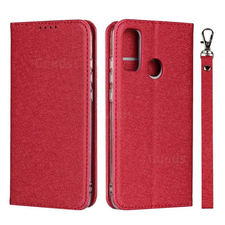 Ultra Slim Magnetic Automatic Suction Silk Lanyard Leather Flip Cover for Huawei P Smart (2020) - Red