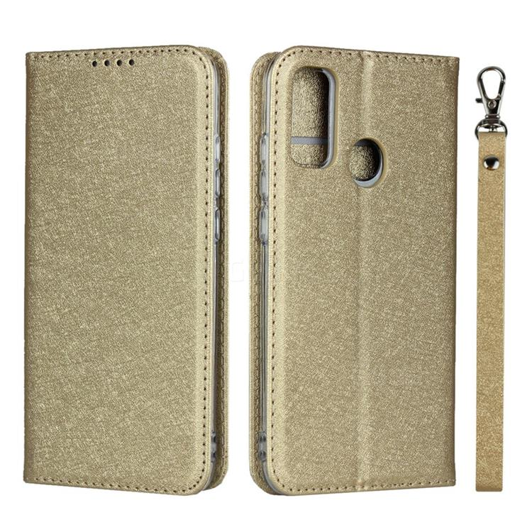 Ultra Slim Magnetic Automatic Suction Silk Lanyard Leather Flip Cover for Huawei P Smart (2020) - Golden