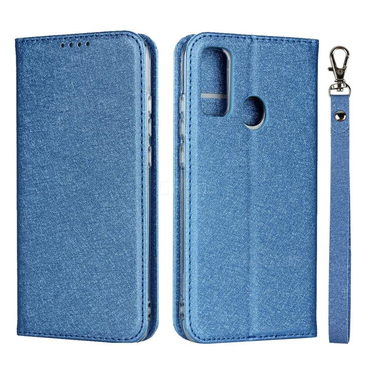 Ultra Slim Magnetic Automatic Suction Silk Lanyard Leather Flip Cover for Huawei P Smart (2020) - Sky Blue