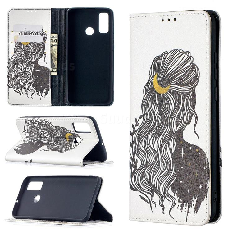 Girl with Long Hair Slim Magnetic Attraction Wallet Flip Cover for Huawei P Smart (2020)
