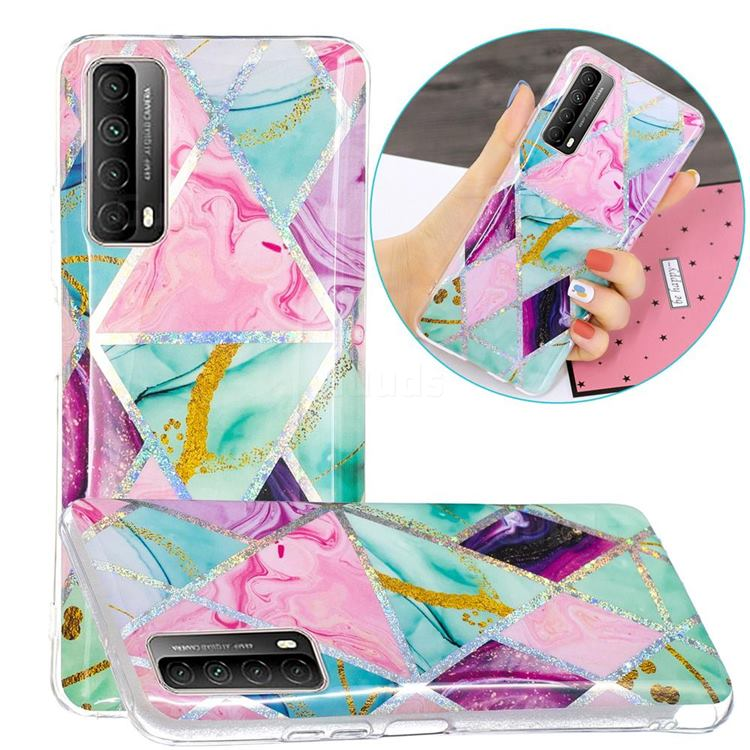 Triangular Marble Painted Galvanized Electroplating Soft Phone Case Cover for Huawei P smart 2021 / Y7a
