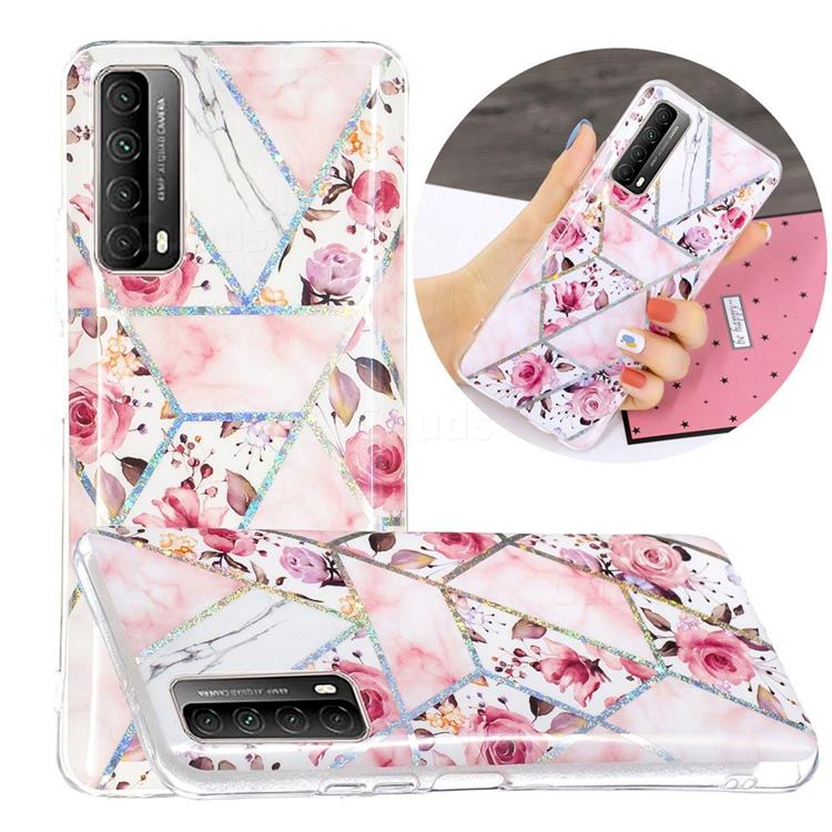 Rose Flower Painted Galvanized Electroplating Soft Phone Case Cover for Huawei P smart 2021 / Y7a