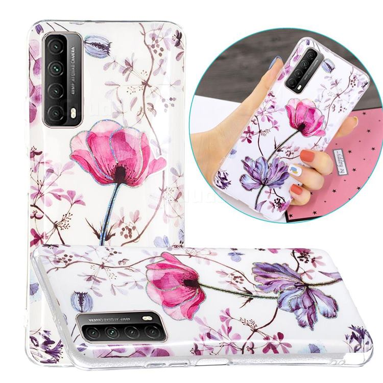 Magnolia Painted Galvanized Electroplating Soft Phone Case Cover for Huawei P smart 2021 / Y7a