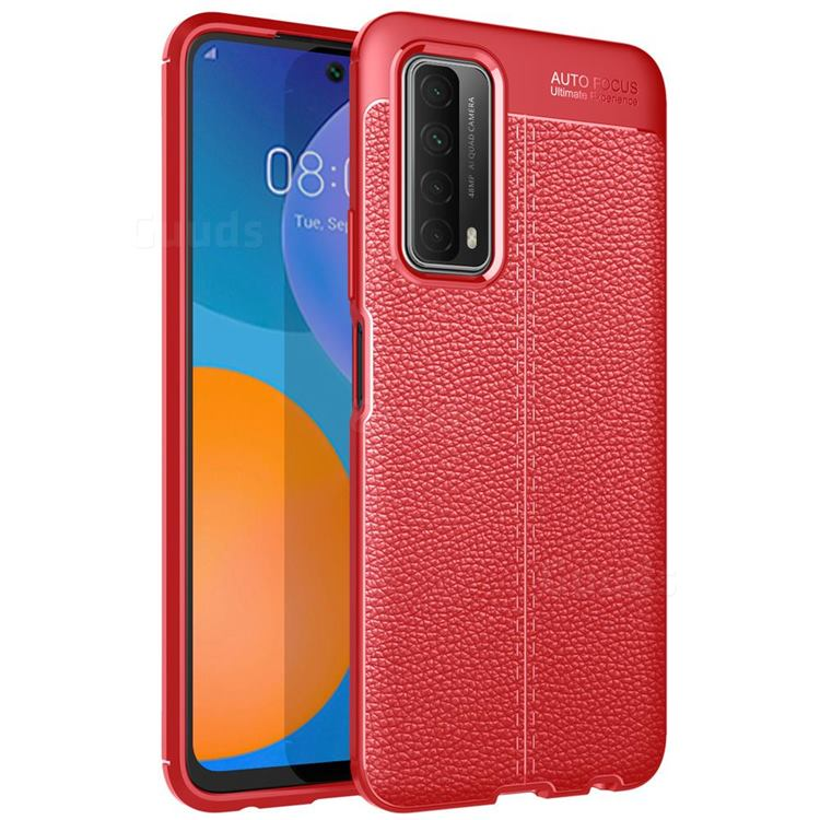 Luxury Auto Focus Litchi Texture Silicone TPU Back Cover for Huawei P smart 2021 / Y7a - Red