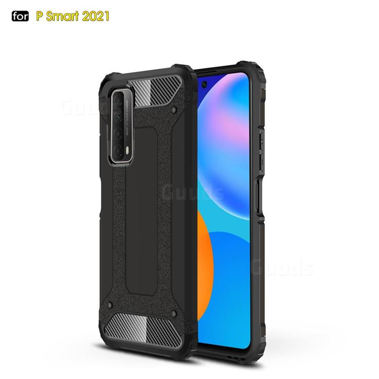 King Kong Armor Premium Shockproof Dual Layer Rugged Hard Cover for Huawei P smart 2021 / Y7a - Black Gold