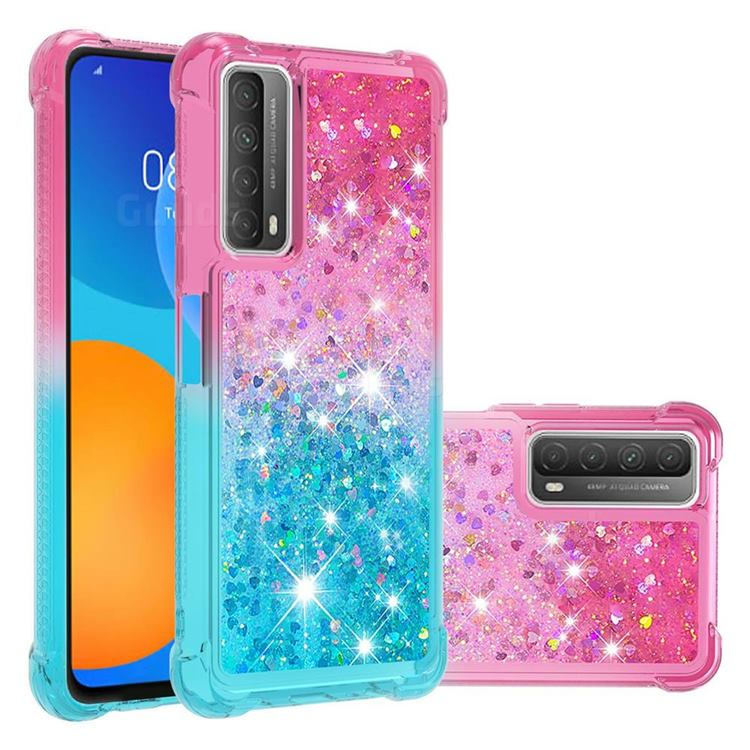 Rainbow Gradient Liquid Glitter Quicksand Sequins Phone Case for Huawei P smart 2021 / Y7a - Pink Blue