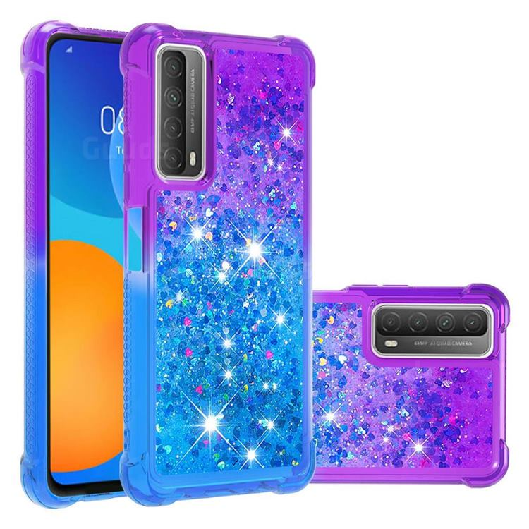 Rainbow Gradient Liquid Glitter Quicksand Sequins Phone Case for Huawei P smart 2021 / Y7a - Purple Blue