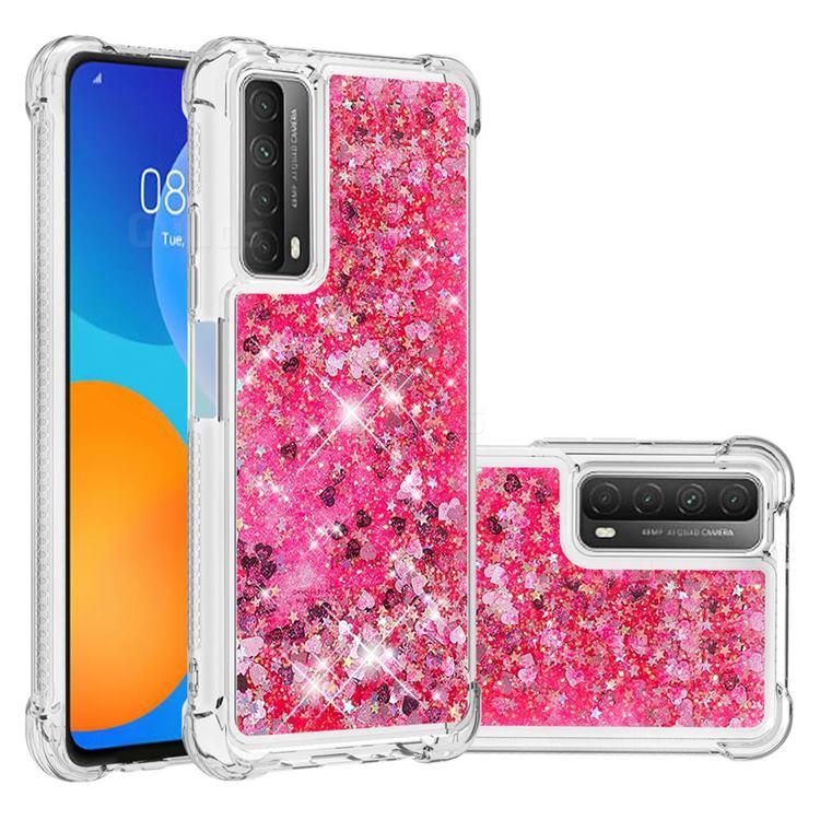 Dynamic Liquid Glitter Sand Quicksand TPU Case for Huawei P smart 2021 / Y7a - Pink Love Heart