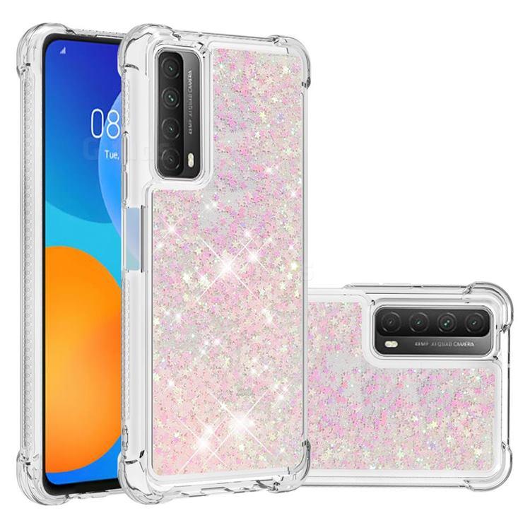 Dynamic Liquid Glitter Sand Quicksand TPU Case for Huawei P smart 2021 / Y7a - Silver Powder Star