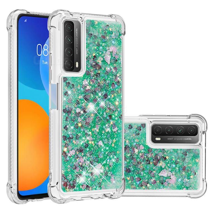 Dynamic Liquid Glitter Sand Quicksand TPU Case for Huawei P smart 2021 / Y7a - Green Love Heart