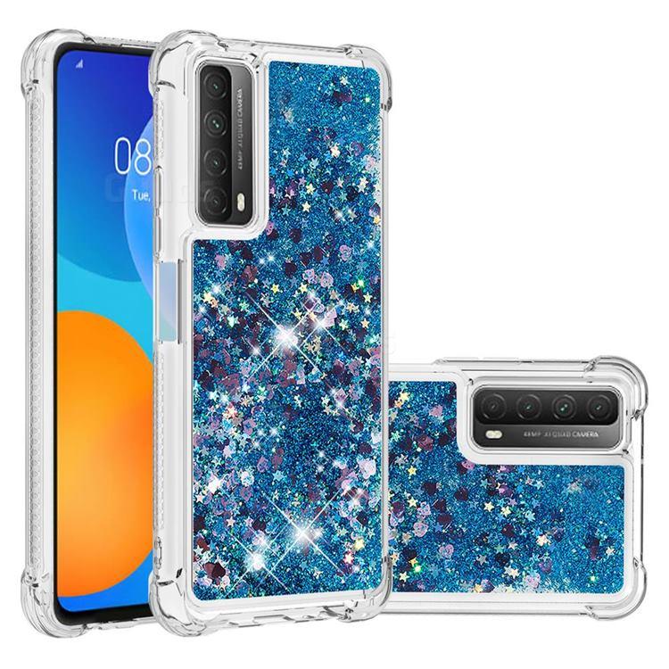 Dynamic Liquid Glitter Sand Quicksand TPU Case for Huawei P smart 2021 / Y7a - Blue Love Heart