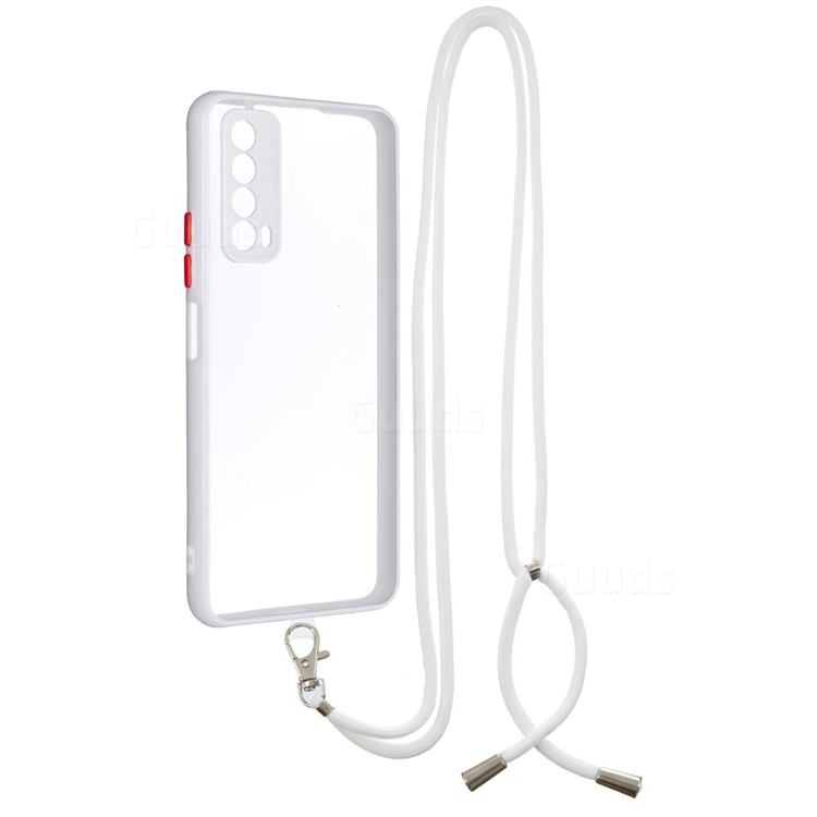 Necklace Cross-body Lanyard Strap Cord Phone Case Cover for Huawei P smart 2021 / Y7a - White