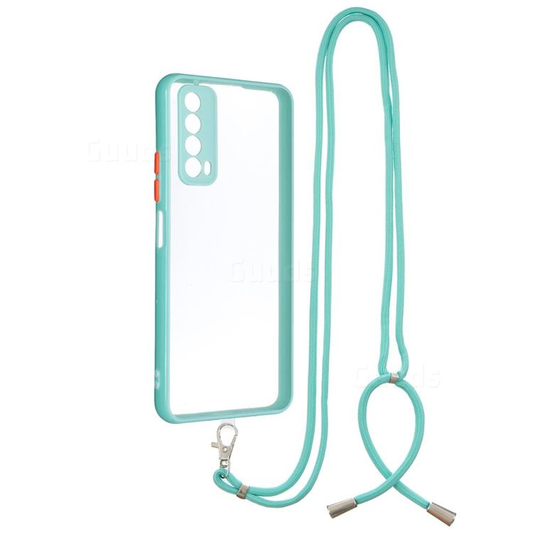 Necklace Cross-body Lanyard Strap Cord Phone Case Cover for Huawei P smart 2021 / Y7a - Blue