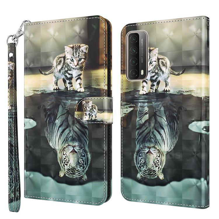 Tiger and Cat 3D Painted Leather Wallet Case for Huawei P smart 2021 / Y7a