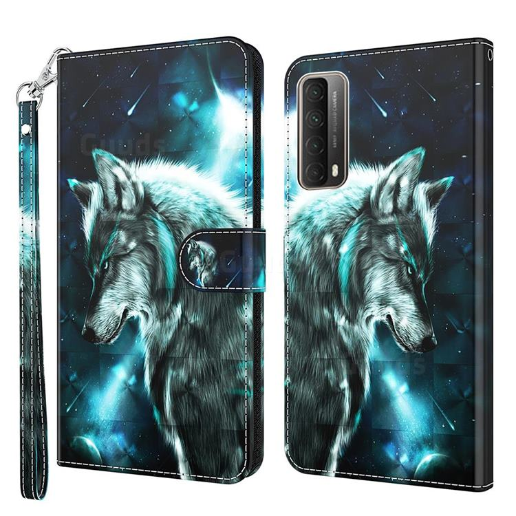 Snow Wolf 3D Painted Leather Wallet Case for Huawei P smart 2021 / Y7a