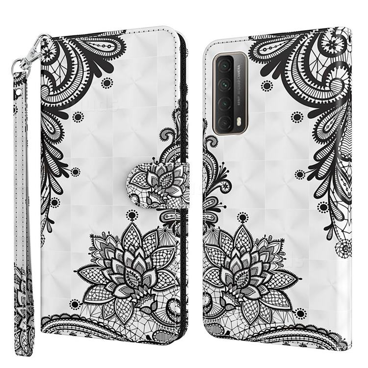 Black Lace Flower 3D Painted Leather Wallet Case for Huawei P smart 2021 / Y7a