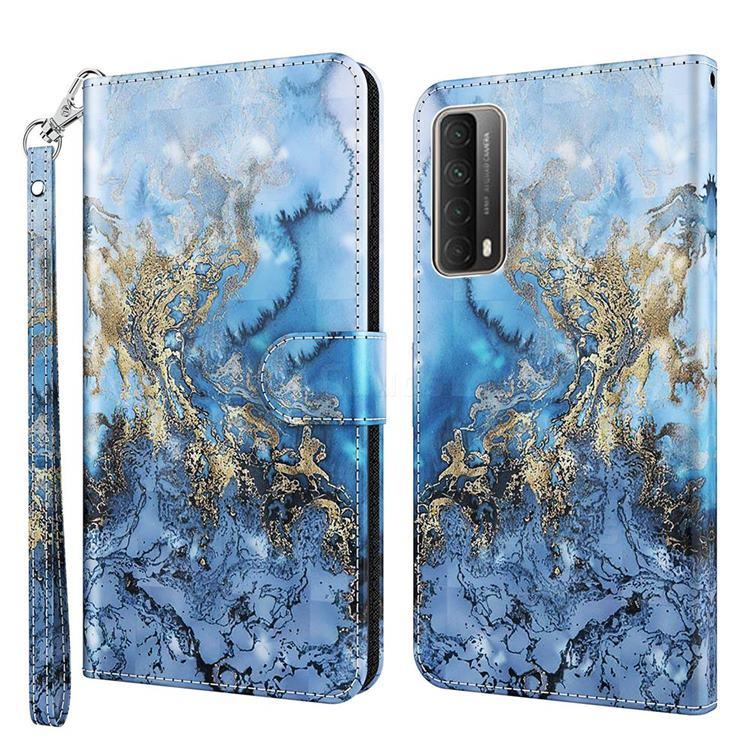Milky Way Marble 3D Painted Leather Wallet Case for Huawei P smart 2021 / Y7a