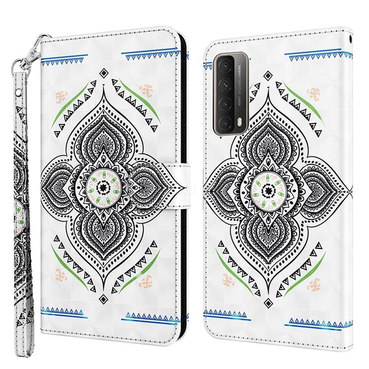 Mandala Totem 3D Painted Leather Wallet Case for Huawei P smart 2021 / Y7a