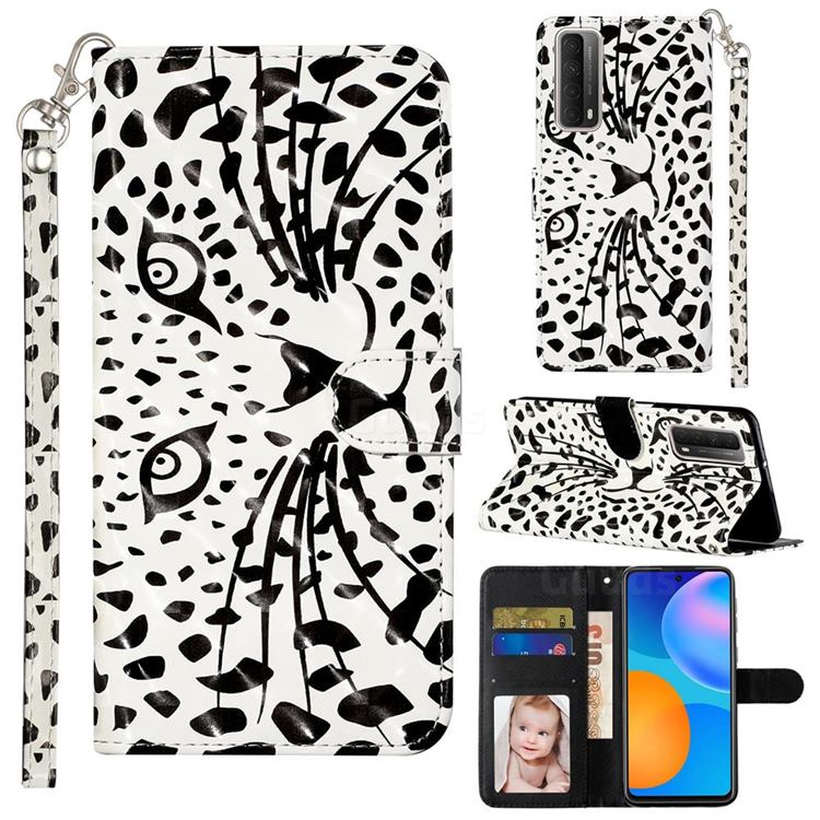 Leopard Panther 3D Leather Phone Holster Wallet Case for Huawei P smart 2021 / Y7a