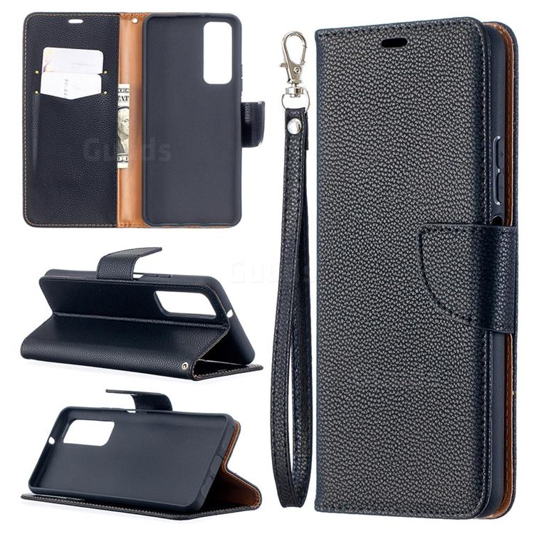 Classic Luxury Litchi Leather Phone Wallet Case for Huawei P smart 2021 / Y7a - Black