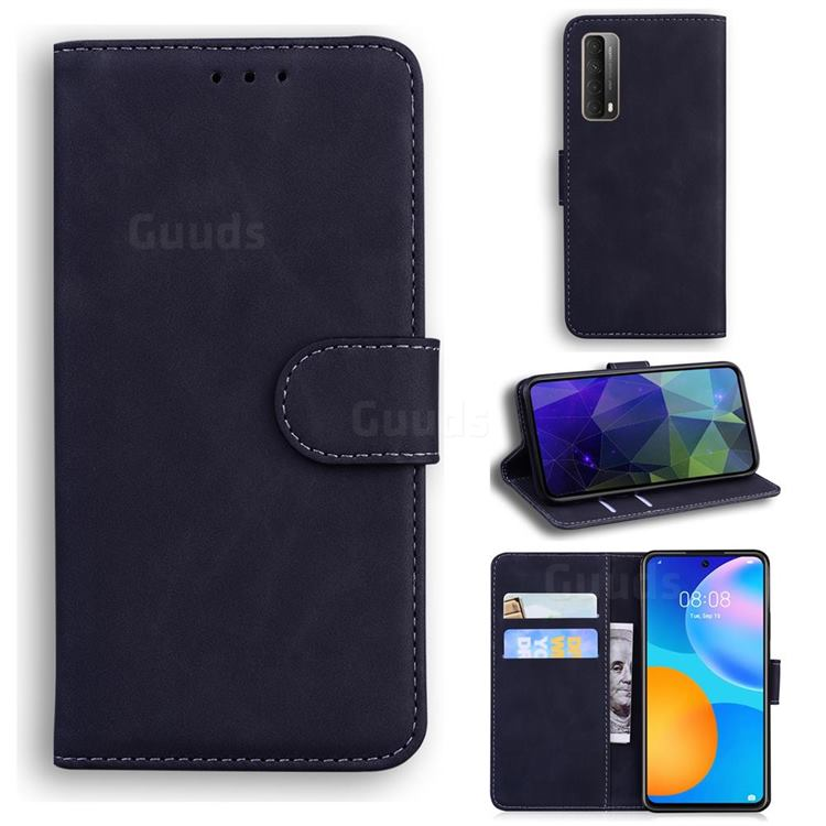 Retro Classic Skin Feel Leather Wallet Phone Case for Huawei P smart 2021 / Y7a - Black