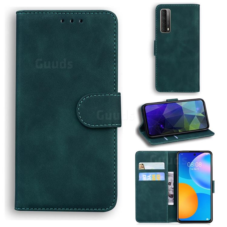 Retro Classic Skin Feel Leather Wallet Phone Case for Huawei P smart 2021 / Y7a - Green