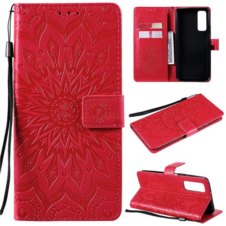 Embossing Sunflower Leather Wallet Case for Huawei P smart 2021 / Y7a - Red