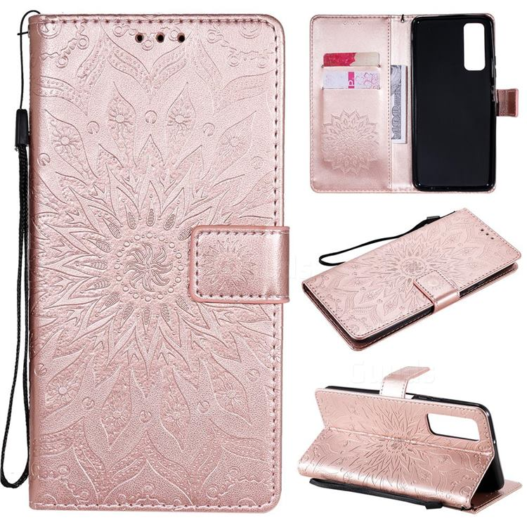 Embossing Sunflower Leather Wallet Case for Huawei P smart 2021 / Y7a - Rose Gold