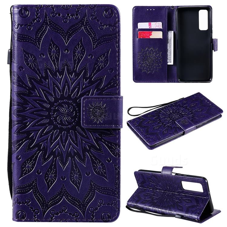 Embossing Sunflower Leather Wallet Case for Huawei P smart 2021 / Y7a - Purple