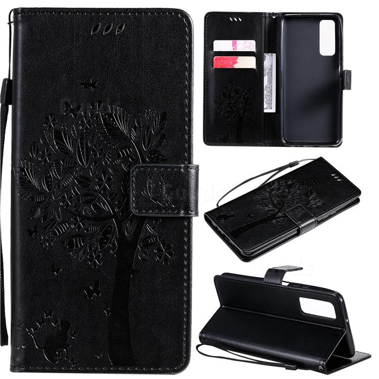 Embossing Butterfly Tree Leather Wallet Case for Huawei P smart 2021 / Y7a - Black