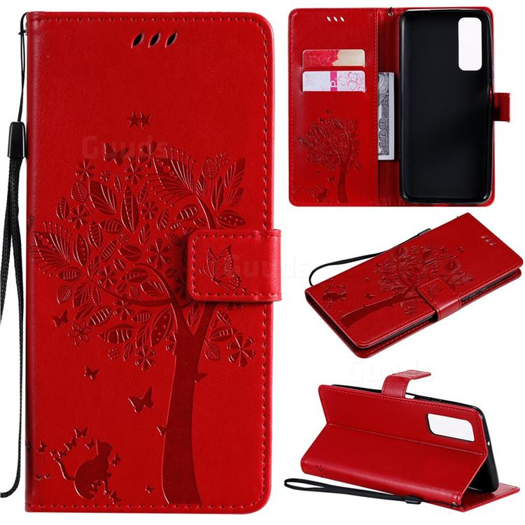 Embossing Butterfly Tree Leather Wallet Case for Huawei P smart 2021 / Y7a - Red