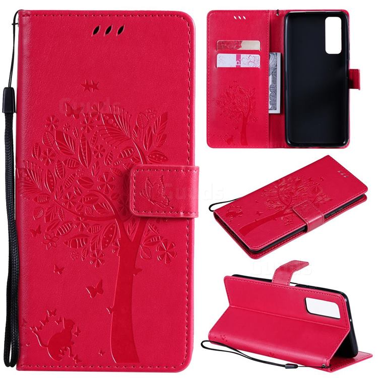 Embossing Butterfly Tree Leather Wallet Case for Huawei P smart 2021 / Y7a - Rose