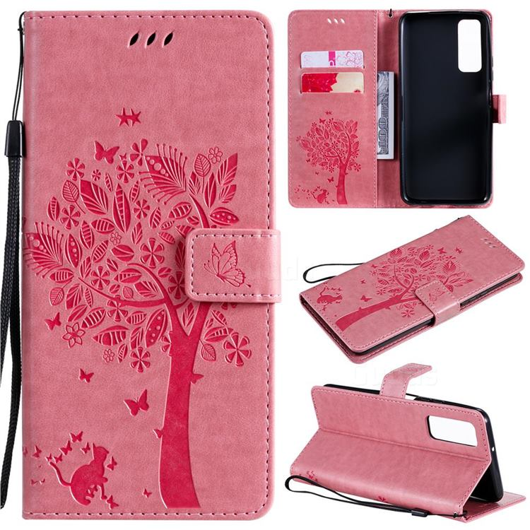 Embossing Butterfly Tree Leather Wallet Case for Huawei P smart 2021 / Y7a - Pink