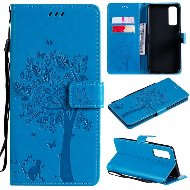 Embossing Butterfly Tree Leather Wallet Case for Huawei P smart 2021 / Y7a - Blue