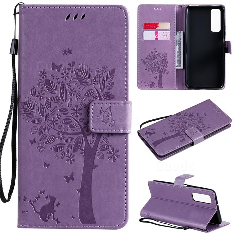 Embossing Butterfly Tree Leather Wallet Case for Huawei P smart 2021 / Y7a - Violet
