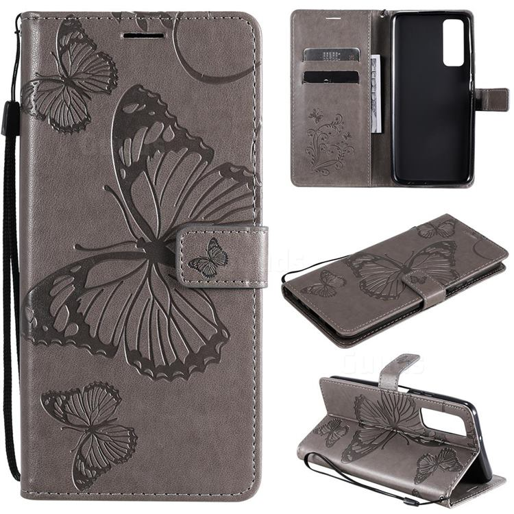 Embossing 3D Butterfly Leather Wallet Case for Huawei P smart 2021 / Y7a - Gray