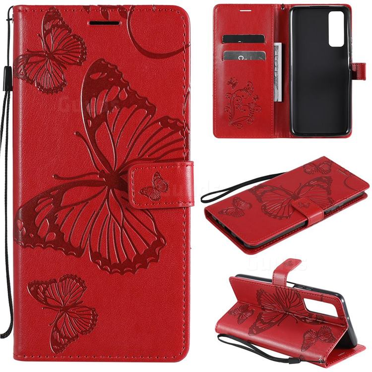 Embossing 3D Butterfly Leather Wallet Case for Huawei P smart 2021 / Y7a - Red