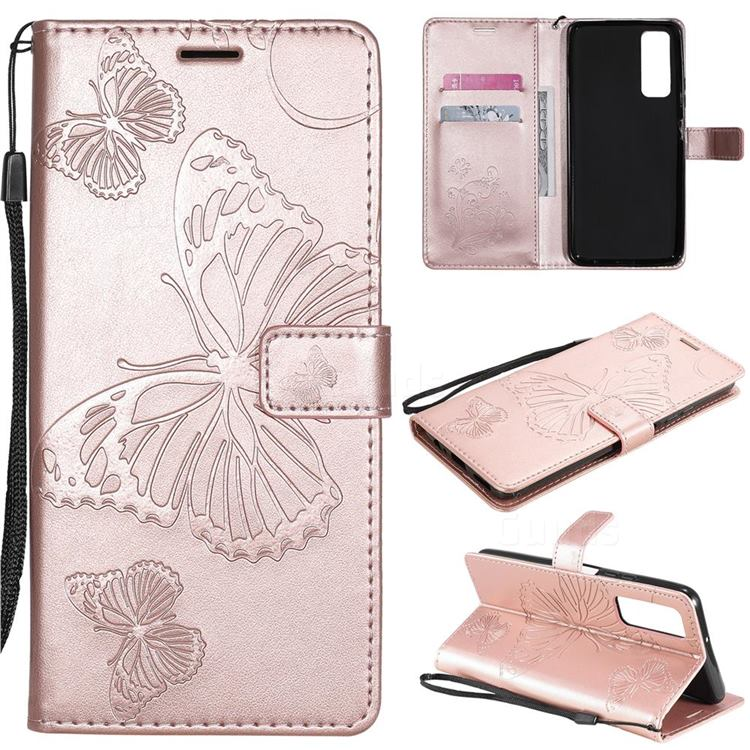 Embossing 3D Butterfly Leather Wallet Case for Huawei P smart 2021 / Y7a - Rose Gold