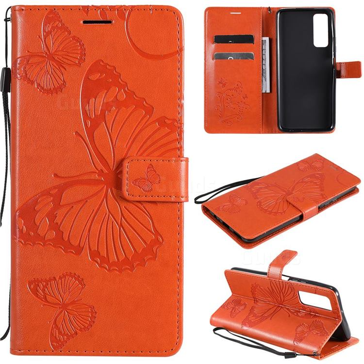 Embossing 3D Butterfly Leather Wallet Case for Huawei P smart 2021 / Y7a - Orange