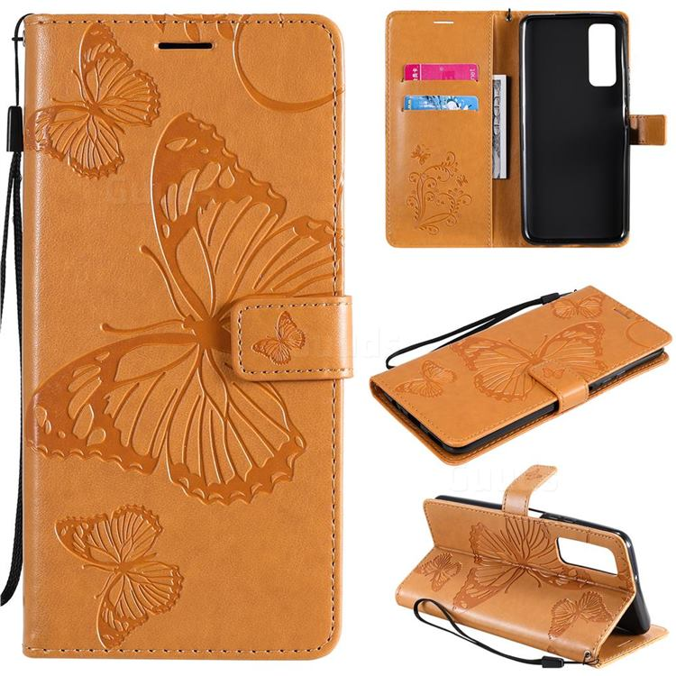 Embossing 3D Butterfly Leather Wallet Case for Huawei P smart 2021 / Y7a - Yellow