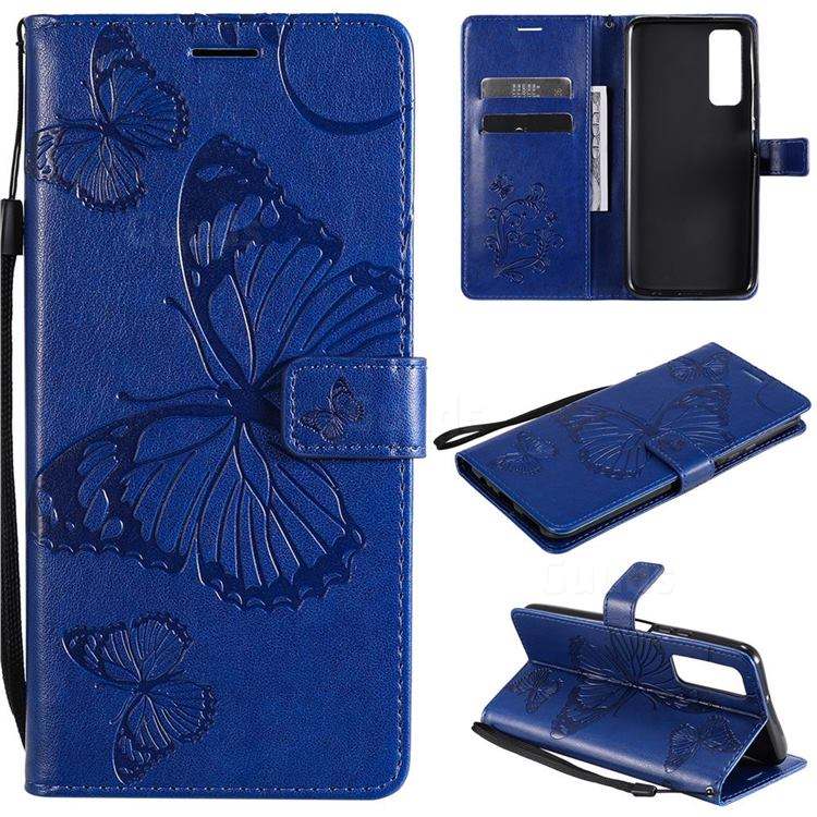 Embossing 3D Butterfly Leather Wallet Case for Huawei P smart 2021 / Y7a - Blue