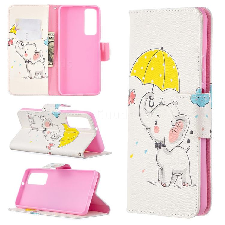 Umbrella Elephant Leather Wallet Case for Huawei P smart 2021 / Y7a