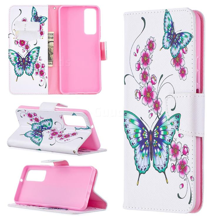Peach Butterflies Leather Wallet Case for Huawei P smart 2021 / Y7a