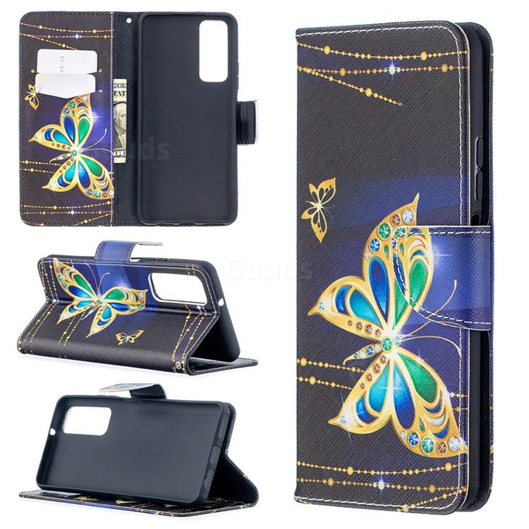 Golden Shining Butterfly Leather Wallet Case for Huawei P smart 2021 / Y7a