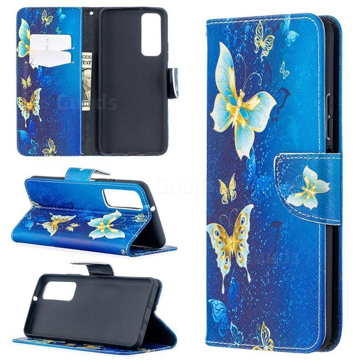 Golden Butterflies Leather Wallet Case for Huawei P smart 2021 / Y7a