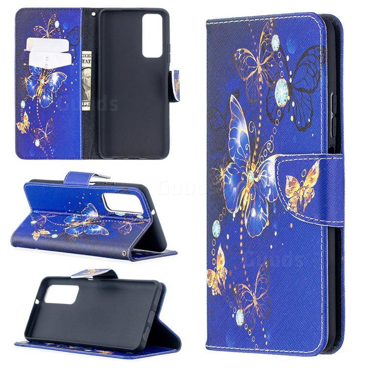 Purple Butterfly Leather Wallet Case for Huawei P smart 2021 / Y7a