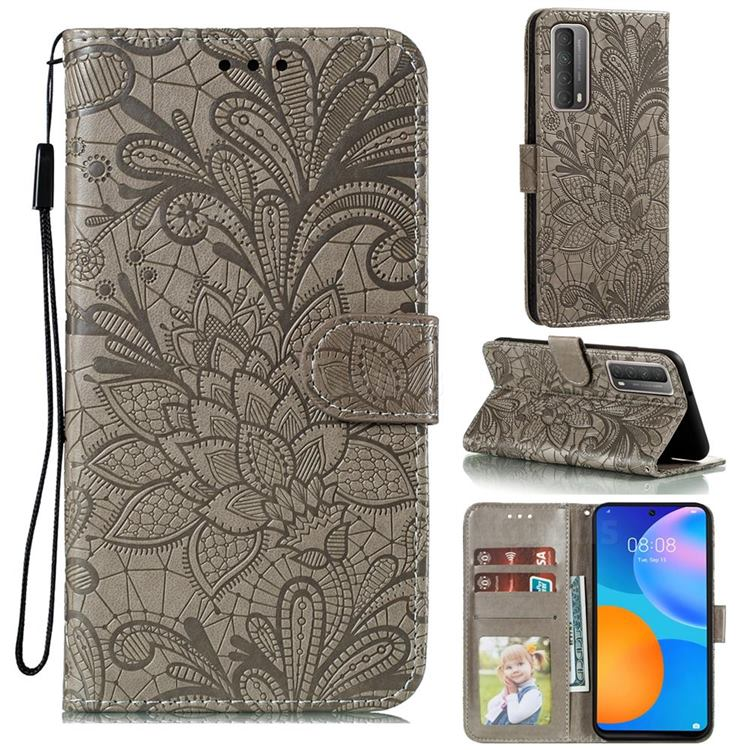 Intricate Embossing Lace Jasmine Flower Leather Wallet Case for Huawei P smart 2021 / Y7a - Gray