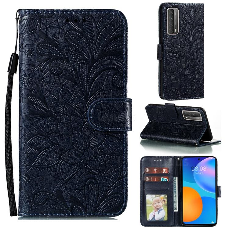 Intricate Embossing Lace Jasmine Flower Leather Wallet Case for Huawei P smart 2021 / Y7a - Dark Blue